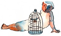 A boy looking at a bird incarcerated in a cage