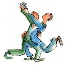 Two men dancing with each other