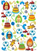 A pattern of boys, toys and cakes for a boys birthday
