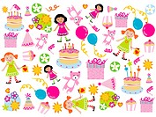 A pattern of girls, toys and cakes for a girls birthday