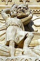 WALL SCULPTURE IN THE FOURVIERE BASILICA, LYON, RHONE 69, FRANCE