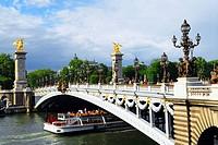 Alexander the Third bridge and Seine cruise boat in Paris, France.