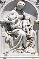 GAIA FOUNTAIN, BAS_RELIEFS BY JACOPO DELLA QUERACIA, SIENA, TUSCANY, ITALY