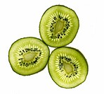 three thin slices of kiwi fruit in close up showing the seeds  Lit from behind  Isolated against white, cutout