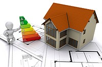 Person stood next to energy ratings with house on plans