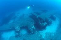 Diver at B 17 Airplane Wreck, Calvi, Mediterranean Sea, Corsica