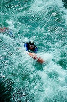 scubing in white water, Traun river, Austria