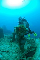 Diver and Engine Order Telegraph at Destroyer USS Lamson, Bikini Atoll, Micronesia, Pacific Ocean, Marshall Islands