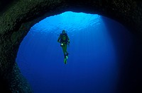 Diver in Grotta, Susac Island, Adriatic Sea, Croatia