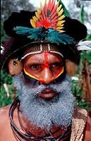 Huli wigman, Tari Huli Highlands, Papua New Guinea