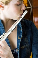 Flautist practicing