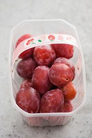 Plums in plastic container