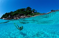 Snorkeling near a tropical island, Indian Ocean Phuket Similan Islands Andaman Sea, Thailand