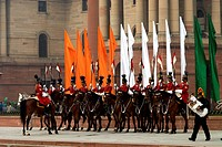 India, New Delhi, parade of the cavalrymen of the the indian army