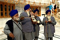 India, Punjab, Amritsar, the Golden Temple, musicians