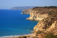 Cyprus, Kourion, cliffs and beah