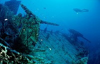 Scuba diver and ship wreck Thistlegorm, Red Sea Sinai, Egypt