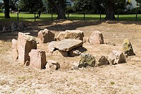 First Tower ST HELIER JERSEY Neolithic cist in circle grave burial stones site St Andrews Park