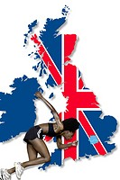 Athlete and image of united kingdom
