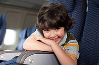 Boy on an airplane