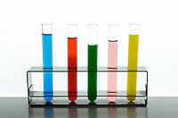 Colored liquids in test tubes