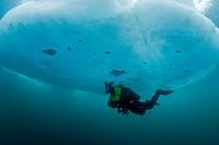 Scuba Diver under Ice, Spitsbergen, Svalbard Archipelago, Norway
