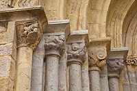 Detail of capitals in the Santa Maria de los Angeles church, San Vicente de la Barquera, Cantabria, Spain