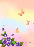 Illustration and painting of beautiful flowers and butterflies