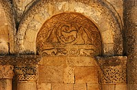 Agnus Dei (´Lamb of God´) symbol, Romanesque church on the Way of St James, Tauriac, Gironde, Aquitaine, France