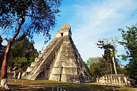 Great Plaza and Temple of the Giant Jaguar.Temple I. Mayan ruins of Tikal. Guatemala.