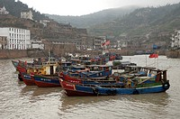Fishing boats in the harbor, Shitang Fishing Village, Taizhou, Zhejiang Province, China