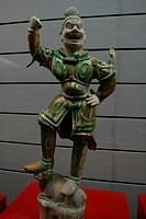 Tang Sancai soldier figurine from Tang Dynasty exhibited in Shaanxi History Museum, Xi´An, Shaanxi Province, China