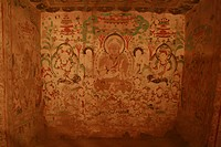 Exquisite cave wall painting, Dunhuang Mogao Grottoes Exhibition, National Art Museum Of China, Beijing, China