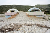 Beach with Bunkers. Borsh. Albania.