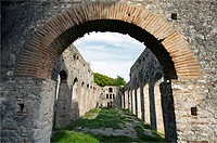 The great Basilica. The Baptistery. 6th century AD in the ancient excavation site in Butrint. UNESCO. World Heritage Site. Butrint. Albania.