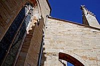 window, the church of Santa Maria la Major, gothic, Montblanc, Catalonia, Spain