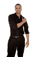 African American male standing on a white background