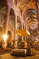 Interior Cathedral. Palma de Mallorca. Majorca. Balearic Islands. Spain.