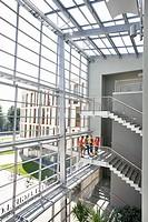 University, stairwell, students, meet,