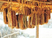 Korean fermented soybeans hung under the eaves