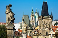 Charles bridge and bridge tower. Prague. Czech Republic.