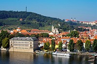 Castle district. River Vltava. Prague. Czech Republic.