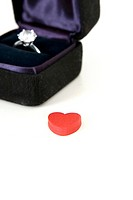 ring in the jewel box and heart shape