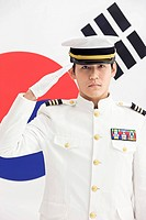 Navy in front of Korean flag, Taegeukgi (thumbnail)
