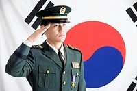 Military in front of Korean flag, Taegeukgi (thumbnail)