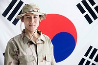 explorer in front of Korean flag, Taegeukgi