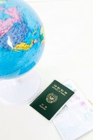 globe, passport and ticket