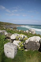 Near to Burthallon Cliff with a stone sign leading to Zennor on the South West Coast Path near to St Ives, Cornwall