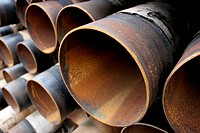 large rusting steel pipes