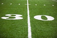 the 30 yard line marked on a football field